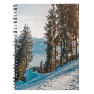 mountains trees and snow notebook