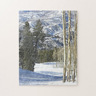 Mountains Winter Landscape Watercolor Painting Jigsaw Puzzle
