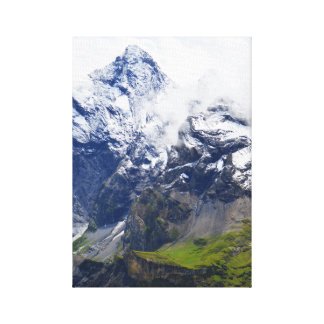 Mountainside in the Swiss alps Canvas Print