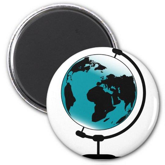 Mounted Globe On Rotating Swivel 6 Cm Round Magnet