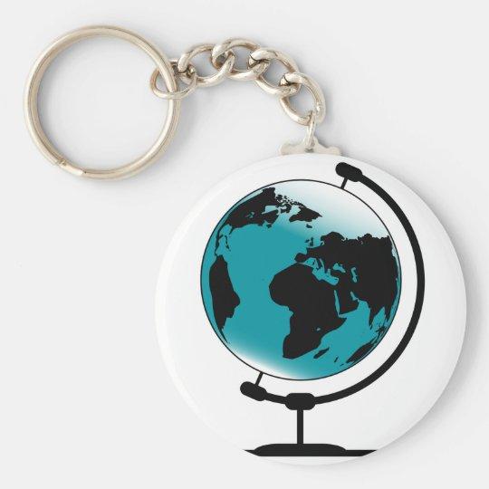 Mounted Globe On Rotating Swivel Basic Round Button Key Ring