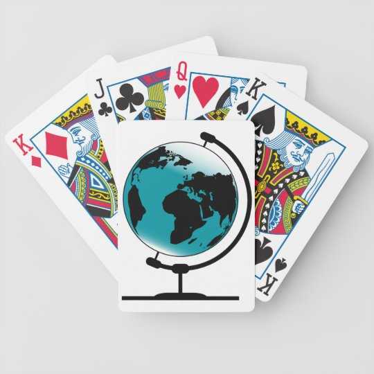 Mounted Globe On Rotating Swivel Bicycle Playing Cards