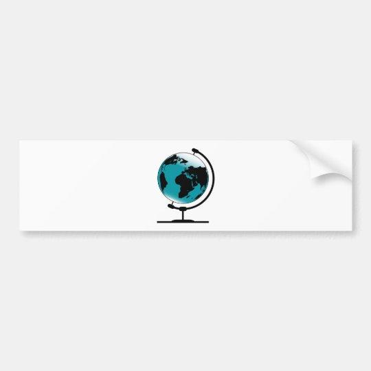 Mounted Globe On Rotating Swivel Bumper Sticker
