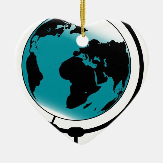 Mounted Globe On Rotating Swivel Ceramic Heart Decoration