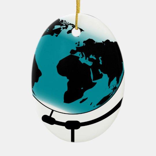 Mounted Globe On Rotating Swivel Ceramic Oval Decoration