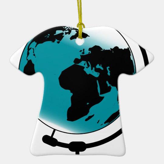 Mounted Globe On Rotating Swivel Ceramic T-Shirt Decoration