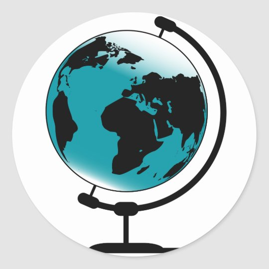 Mounted Globe On Rotating Swivel Classic Round Sticker