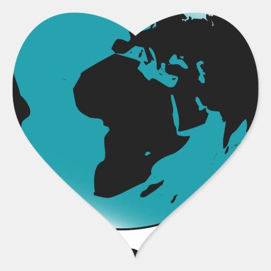 Mounted Globe On Rotating Swivel Heart Sticker