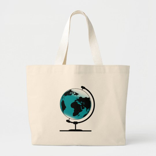 Mounted Globe On Rotating Swivel Large Tote Bag