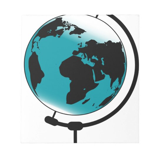 Mounted Globe On Rotating Swivel Notepad