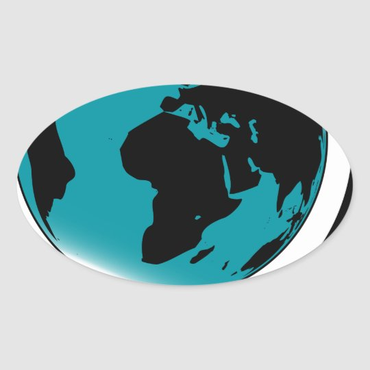 Mounted Globe On Rotating Swivel Oval Sticker