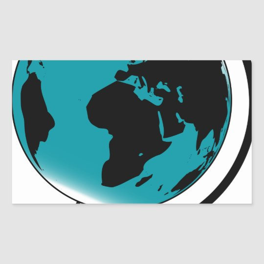 Mounted Globe On Rotating Swivel Rectangular Sticker
