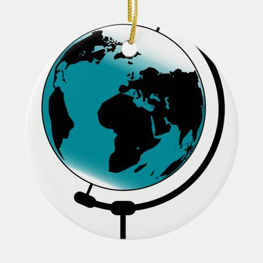 Mounted Globe On Rotating Swivel Round Ceramic Decoration