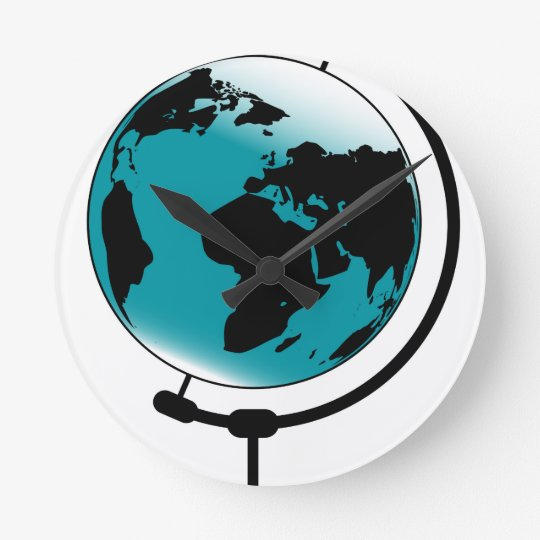 Mounted Globe On Rotating Swivel Round Clock