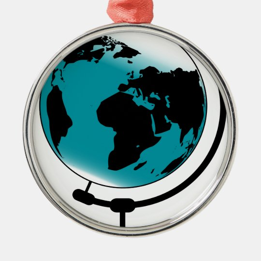Mounted Globe On Rotating Swivel Silver-Colored Round Decoration