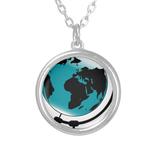 Mounted Globe On Rotating Swivel Silver Plated Necklace