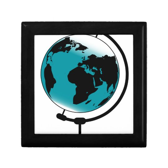 Mounted Globe On Rotating Swivel Small Square Gift Box