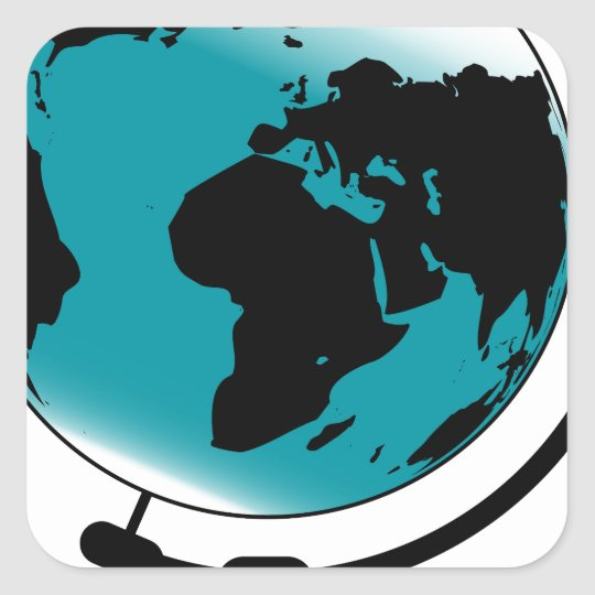 Mounted Globe On Rotating Swivel Square Sticker