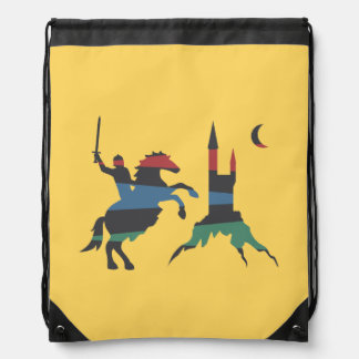 Mounted Hero vs Castle Drawstring Backpacks