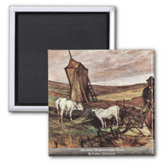 Mounted Shepherd And Cows By Fattori Giovanni Magnet