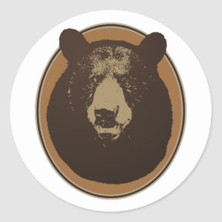 Mounted Taxidermy Bear Head Graphic Classic Round Sticker