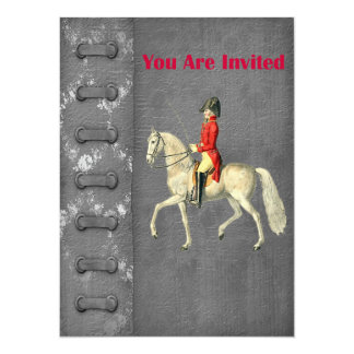 Mounted Victorian Military Officer 14 Cm X 19 Cm Invitation Card