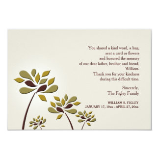 Mournful Sympathy Thank You Card 9 Cm X 13 Cm Invitation Card