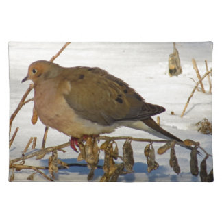 Mourning Dove in Snow Photo Placemat