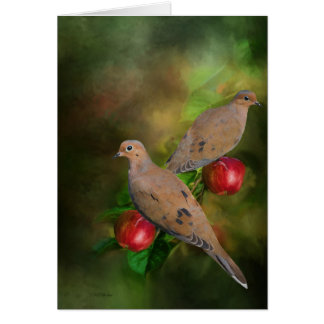 Mourning Doves on the Apple Tree - Painting Card