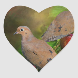 Mourning Doves on the Apple Tree - Painting Heart Sticker