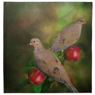 Mourning Doves on the Apple Tree - Painting Napkin