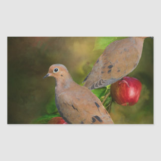 Mourning Doves on the Apple Tree - Painting Rectangular Sticker