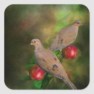 Mourning Doves on the Apple Tree - Painting Square Sticker