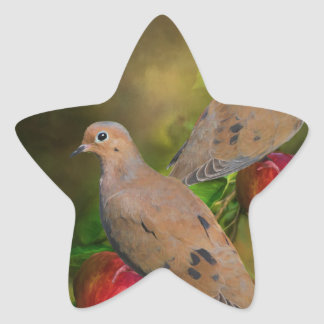 Mourning Doves on the Apple Tree - Painting Star Sticker