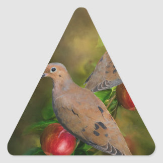Mourning Doves on the Apple Tree - Painting Triangle Sticker