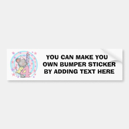 Mouse 4th birthday T-shirts and Gifts Bumper Stickers