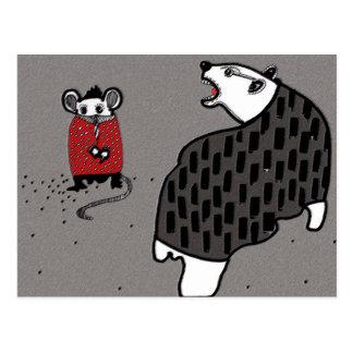 Mouse and a bear bully postcard