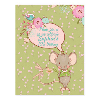 Mouse and Bird Children Birthday Invitation Postcard
