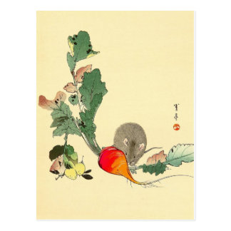 Mouse and Red Radish, Japanese Painting c.1800s Postcard