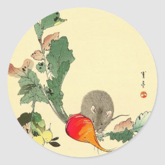 Mouse and Red Radish, Japanese Painting c.1800s Round Sticker