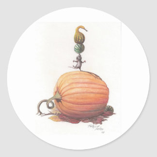 Mouse Balancing Pumpkins Classic Round Sticker