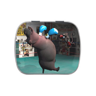Mouse Beats Hippo KO Jelly Belly Candy Tin