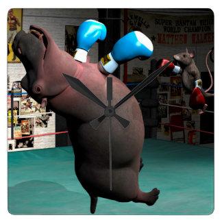 Mouse Beats Hippo KO Square Wall Clock