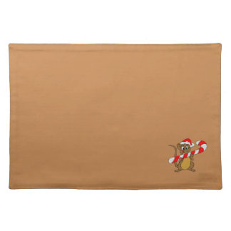 Mouse/Candy Cane Brown Cloth Placemat