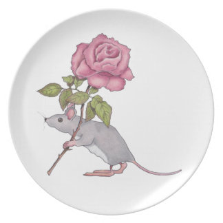 Mouse Carrying a Pink Rose, Color Pencil Art Plates