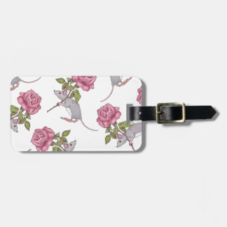 Mouse Carrying a Pink Rose, Random Pattern, Art Luggage Tag