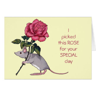 Mouse Carrying Big Pink Rose, For You Greeting Card