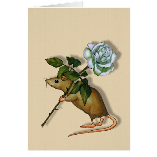 Mouse Carrying Large White Rose, Any Occasion Greeting Card