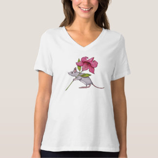 Mouse Carrying Pink Lily Flower, Illustration T-Shirt