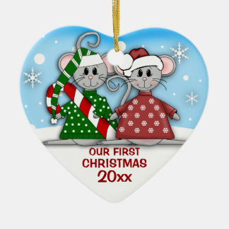 Mouse Couple First Christmas Ornament